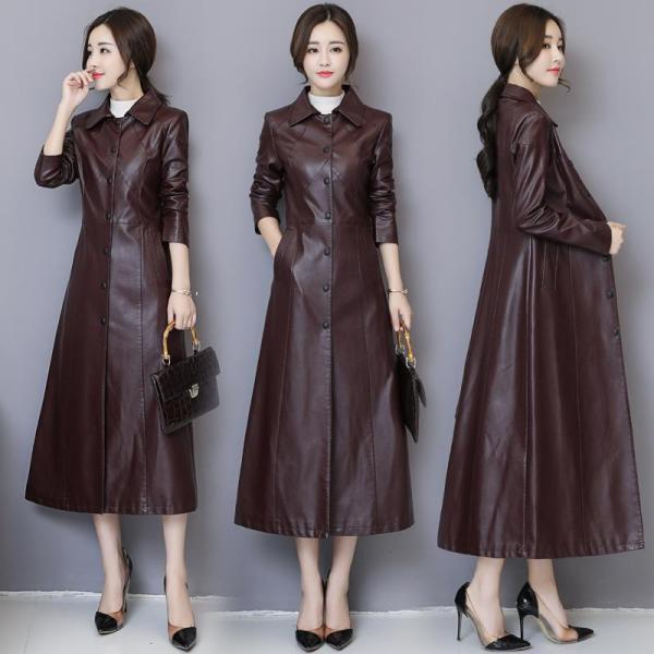 2020 Thu Đông Mẫu Mới Haining Da Thật Áo Da Nữ Kiểu Lửng Qua Đầu Gối Phiên Bản Hàn Quốc Ôm Body Da Cừu Áo Gió Áo Khoác Thủy Triều