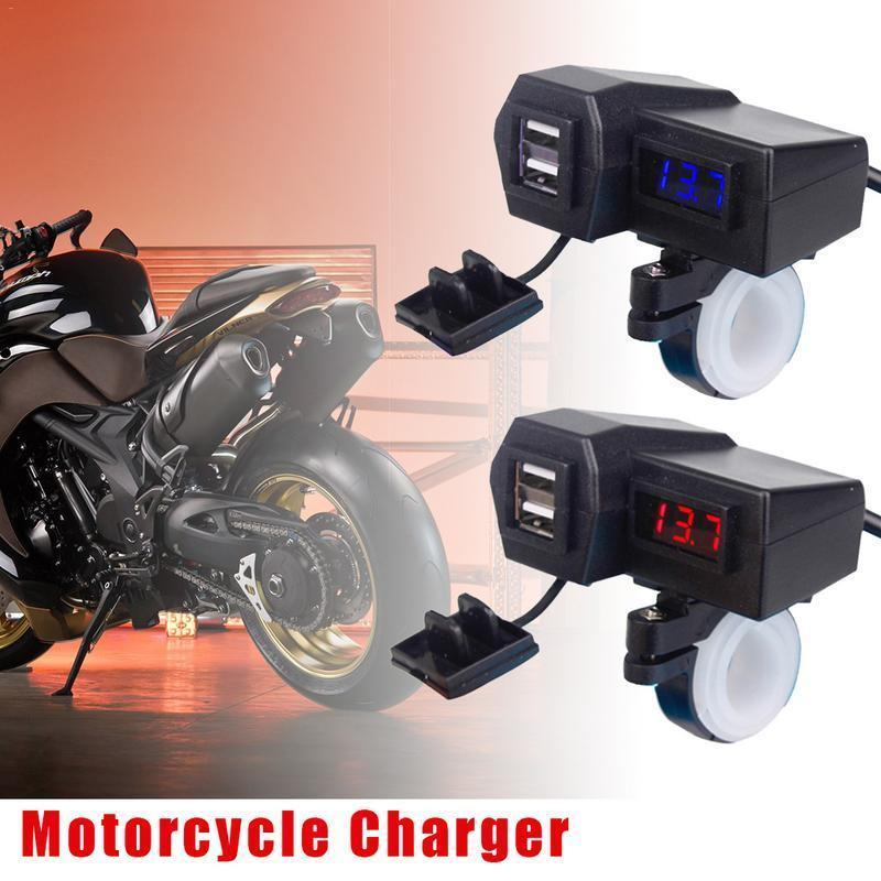 3 1A (BLUE LED) Motorcyle Charger Motorcycle Accessories Dual USB Cigarette  Lighter Voltmeter Display Waterproof Wiring 60CM Double USB Adapter