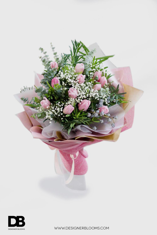 1 Dozen Tulips in a Bouquet (Pink)