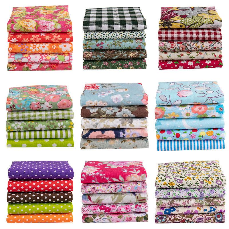 5 cái / lốc Vải Hoa Cổ Điển cho Tự Làm Vải Bông In Vá Búp Bê Búp Bê Thủ Công Phụ Kiện Hoa Mẫu Vải Thủ Công 25x25 cm / cái