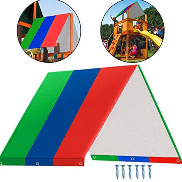 Swing Set Replacement Tarp Waterproof Trap Cover for Kids Playground Outdoor Sunproof (Green Blue Red)