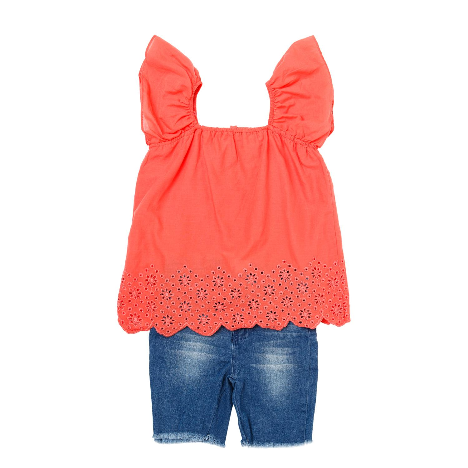 Justees Girls Eyelet Top And Shorts Set In Salmon By The Sm Store