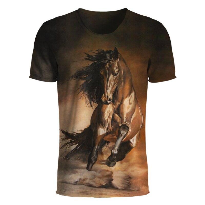 7149c7b123be 3D Animal Print T Shirt Men s Summer Short Sleeve Top Tees Fashion Horse  Printed 3d tshirts