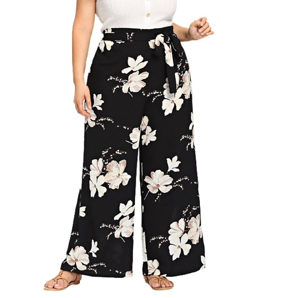 c6ad5e31d9 Foxloom Womens Plus Size Casual Wide Leg Pants Floral Printed Bow Bandage  Maxi Trousers