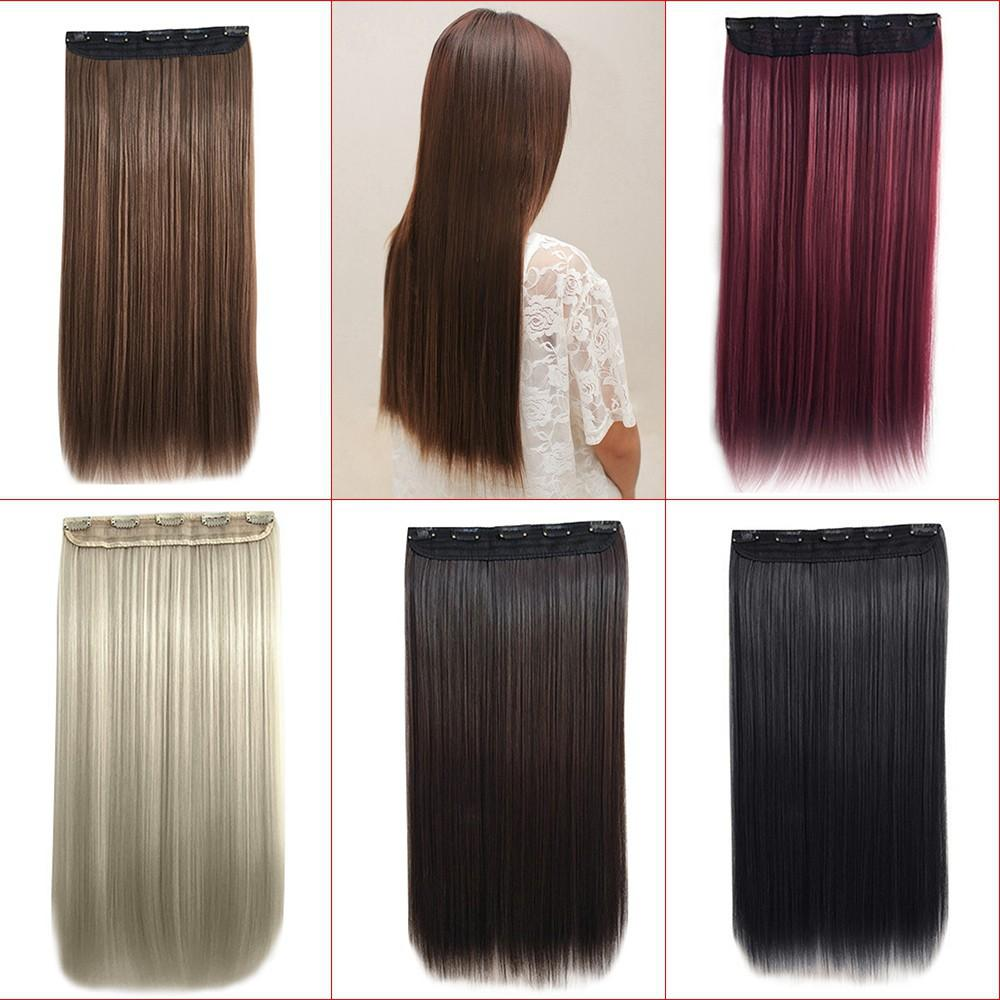 cee70a35366 Boo-5 Clips In Hair Extension Matte Long False Straight Synthetic Wig  Hairpieces