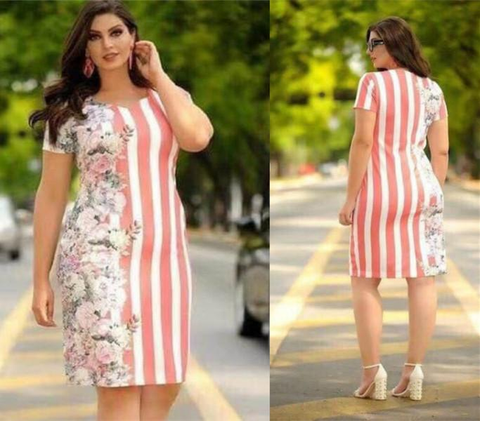 0b12e131a3f Lucky studio Fashion floral plus size dress hot on sale short sleeve stripe  design elegant dress