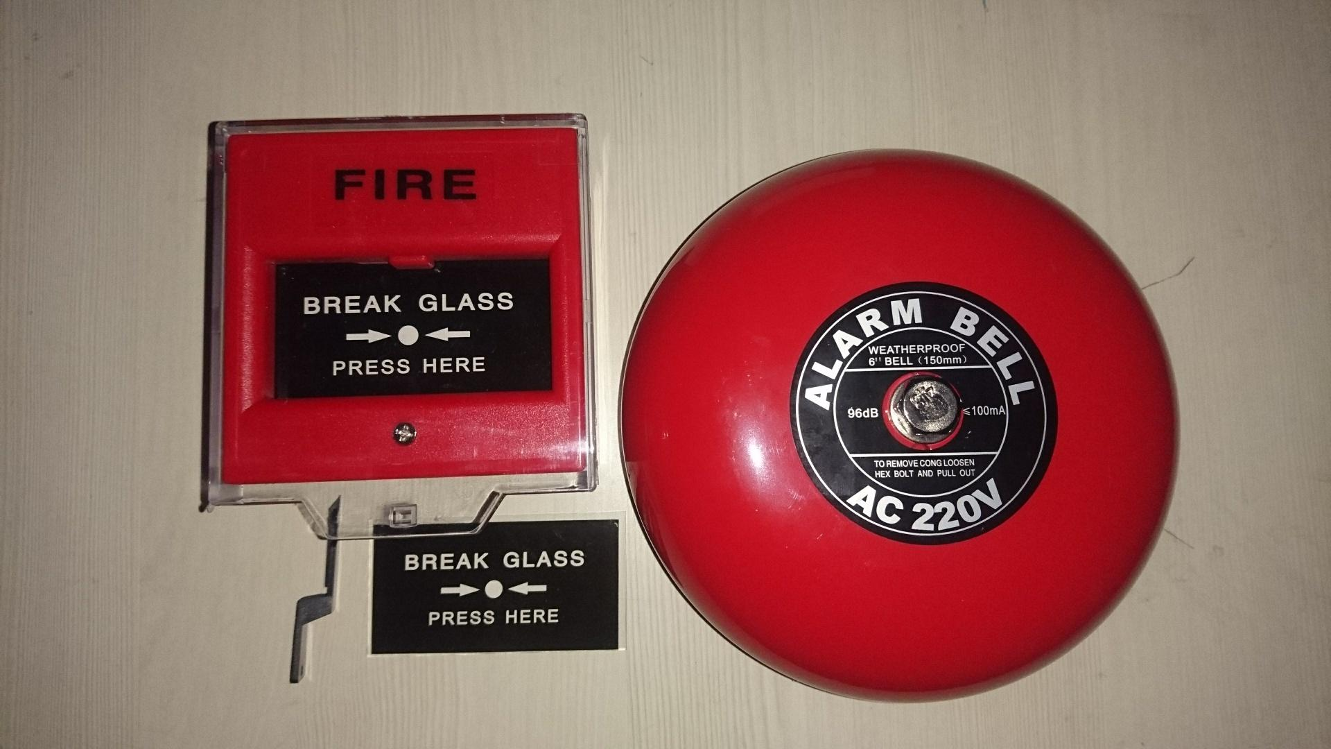 Fire Alarm Bell 6in 220V & Break Glass / Call Point Manual Push Station