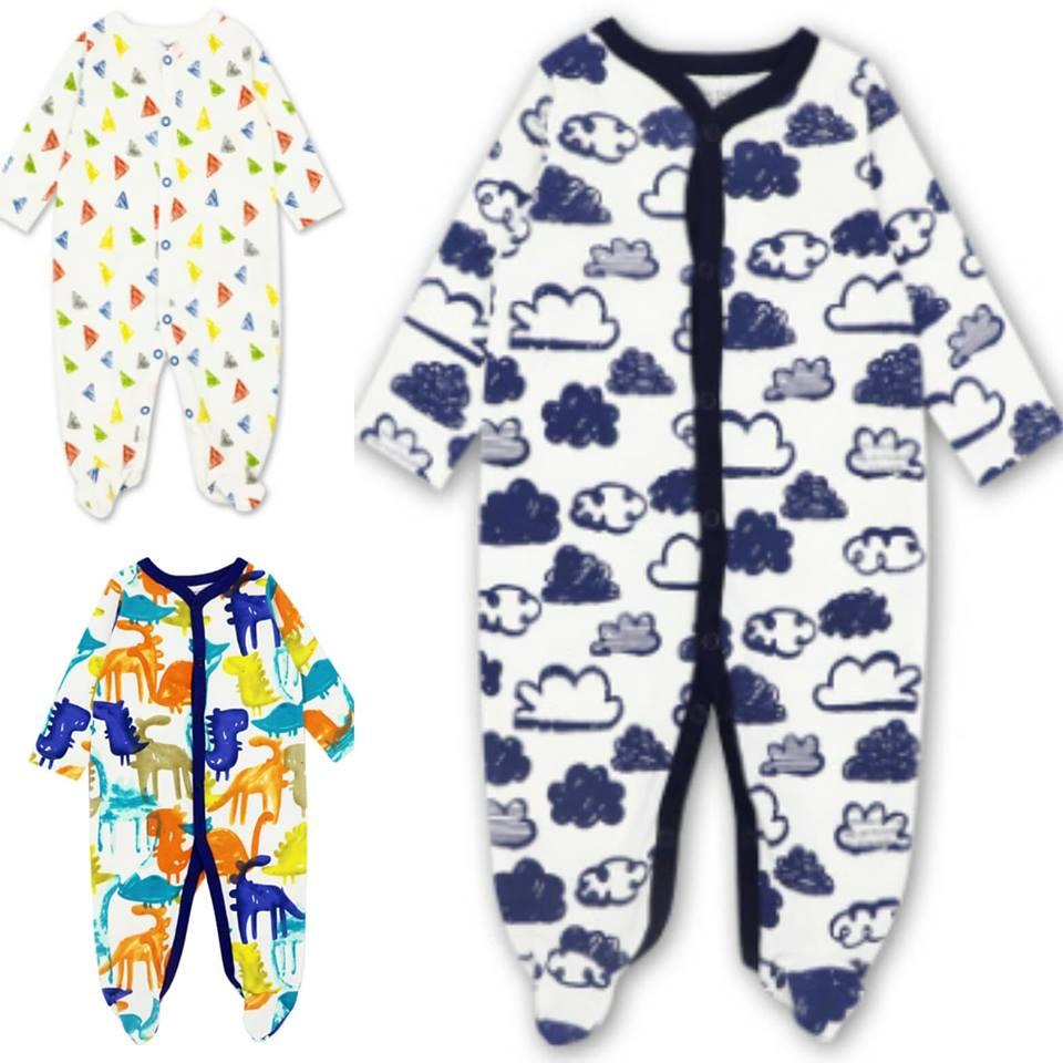 Mk102- Motherkids Premium Quality Sleepsuit 3 Pcs By Fashion & Trend Ph.