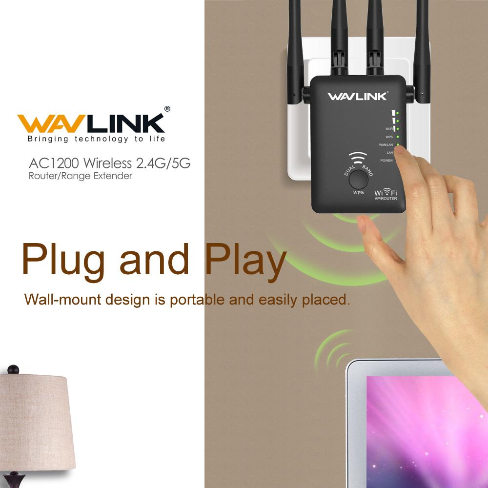 Wavlink AC1200 Wireless Repeater,High Gain Dual Band Wireless Range  Extender and Router,signal booster Supports 802 11ac ( 300Mbps + 867Mbps)  WPS