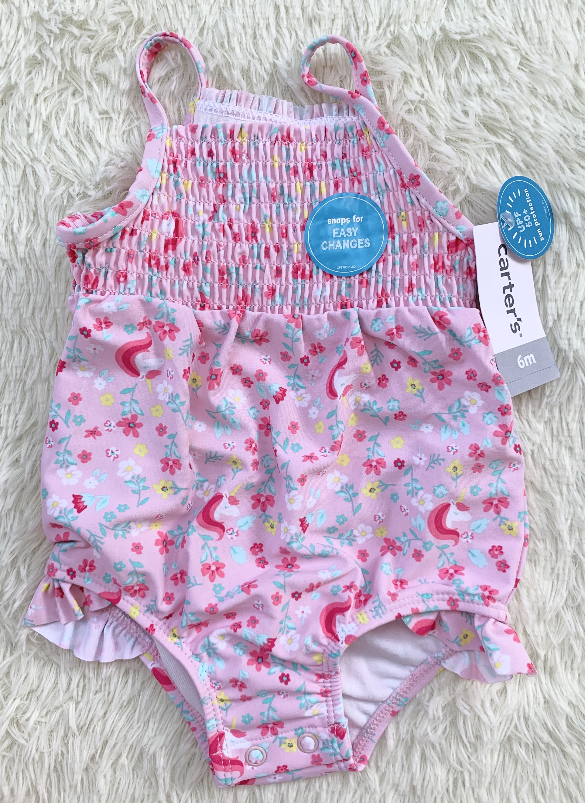 CARTER/'S Baby Girl 3M Floral 3-Pc Tankini /& Coverup Swim Set NWT