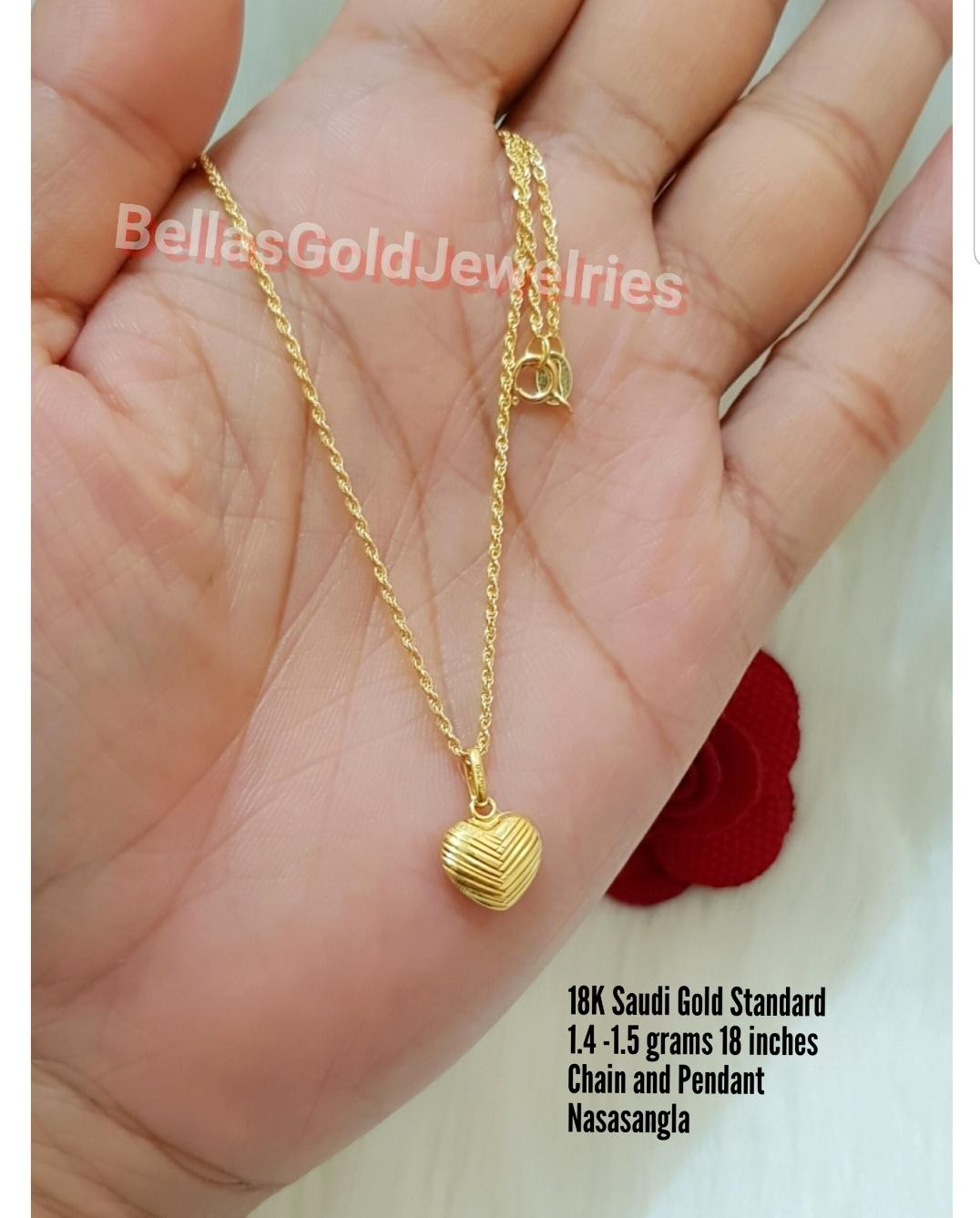 18k Necklace With Pendant Saudi Gold Nasasangla By Bellas G J.