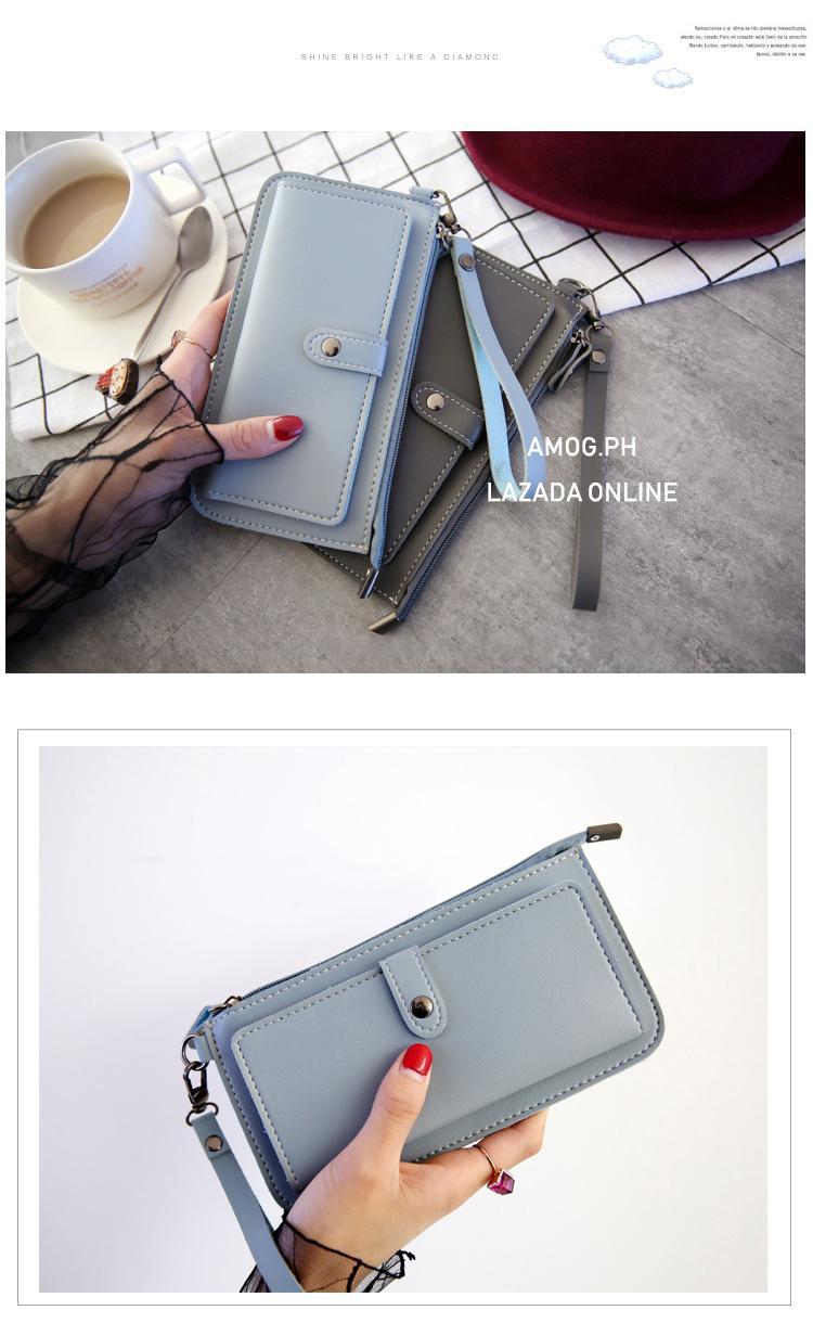 26852fb4badc8b AMOG New Fashion Lady Purse PU Leather Wallet Zipper Wallet Purse Fashion Card  Holder Phone Bag
