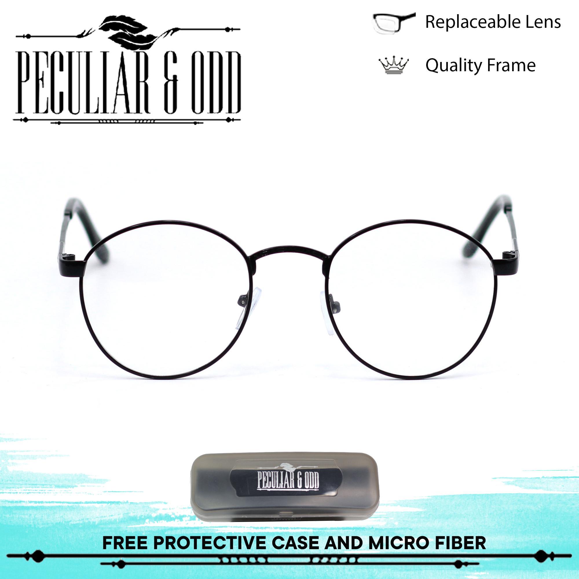 7a39203590 Premium Edition Round Vintage Slim Metal Glasses 016 Black inBlack Frame  Optical Replaceable Lens Unisex Eyewear