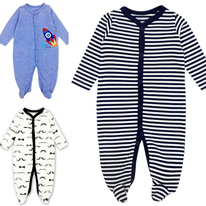 Mk005 Mother Kids Premium Quality Sleepsuit For Baby Boys 3 Pcs By Fashion & Trend Ph.