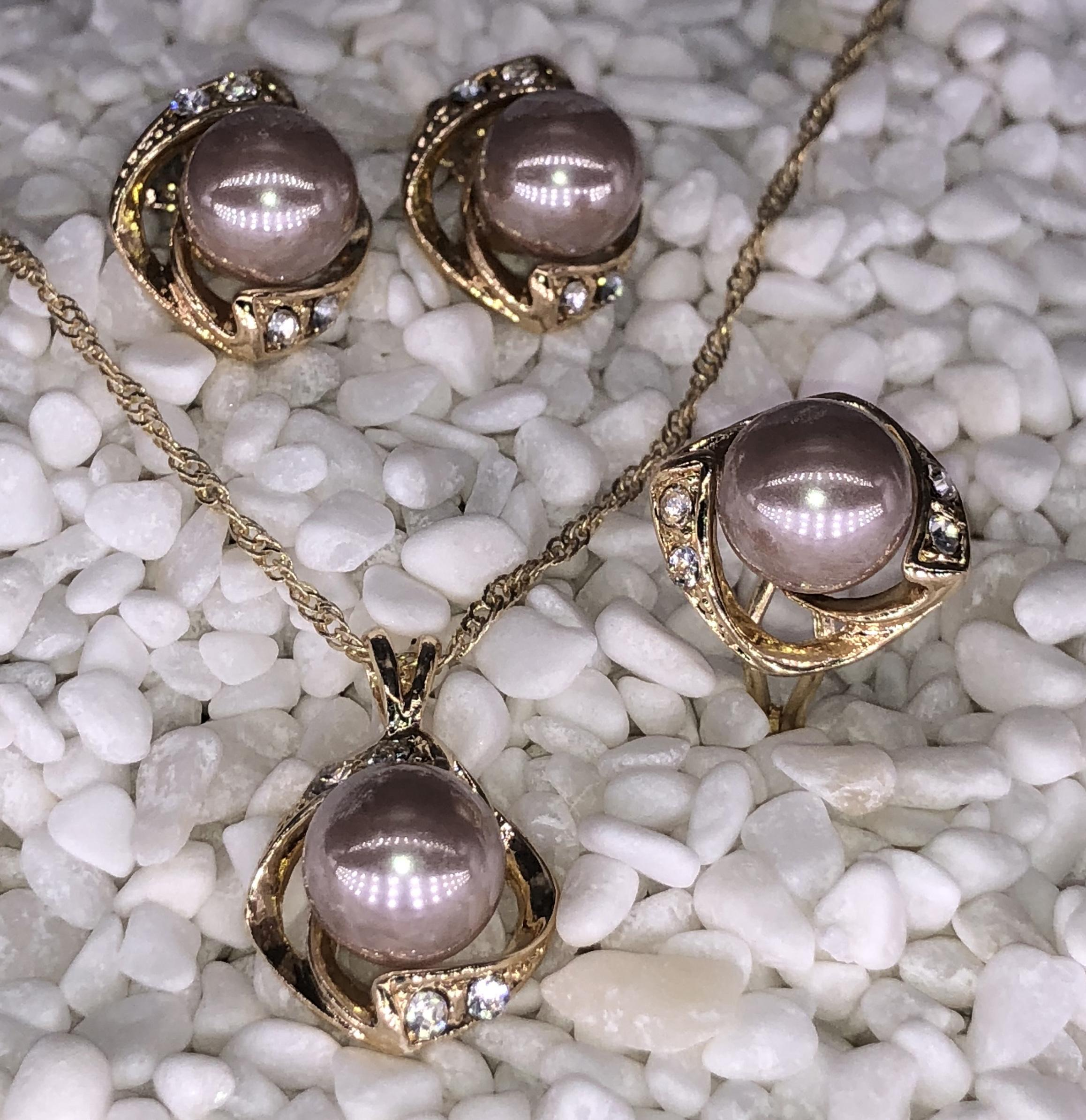 ea920e233 DS Women's Vintage Pearl wedding & party rhynestone .Necklace ,Earrings and  ring Jewellery Sets