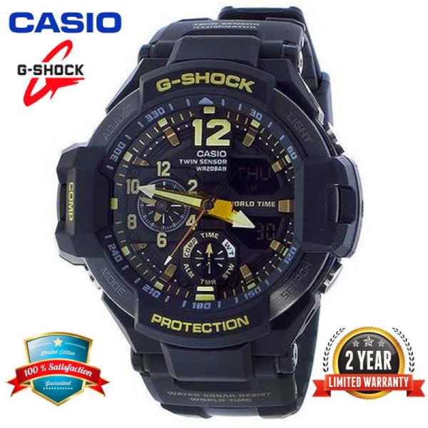 Original G Shock GA1100 Men Sport Watch Dual Time Display 200M Water Resistant Shockproof and Waterproof World Time LED Auto Light Compass Thermometer Sports Wrist Watches with 2 Years Official Warranty GA-1100GB-1A Black Gold (Ready Stock) Malaysia
