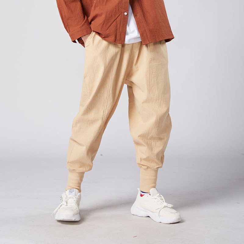 MrGoldenBowl Store Men Harem Pants Japanese Casual Cotton Linen Trouser Man Jogger Pants Chinese Baggy Pants Singapore