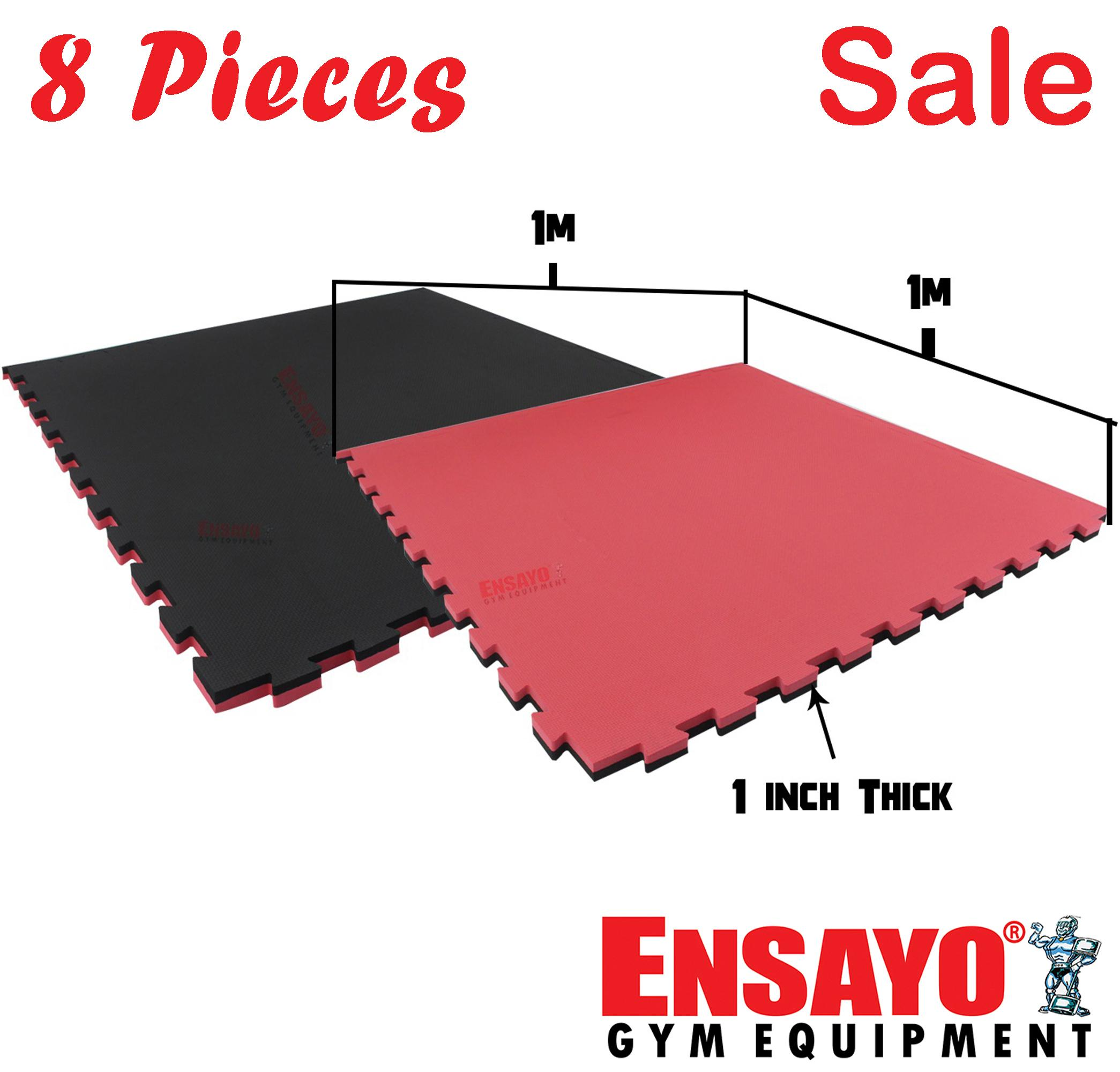 ENSAYO 8pcs  Low Density Mats Black/Red 1x1 meter x 1-inch Best  Home/Commercial gym (  Exercise/Workout/Judo/Gymnastics/Jiu-jitsu/Yoga/Grappling/Streng