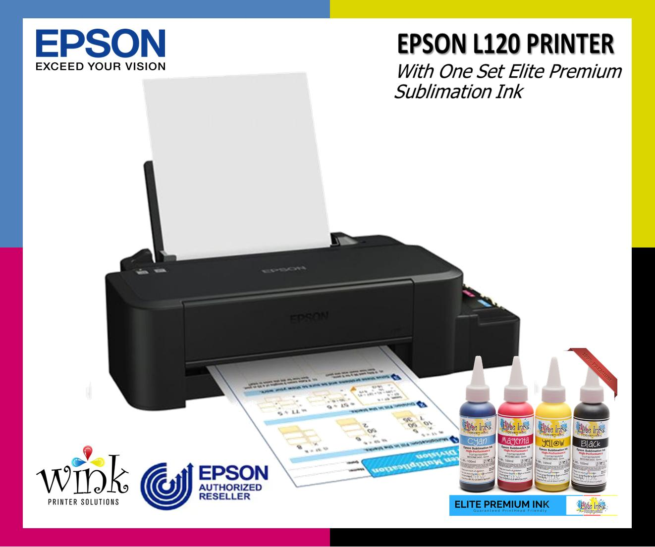 Epson L120 with Elite Premium Sublimation Inks - Printer Package
