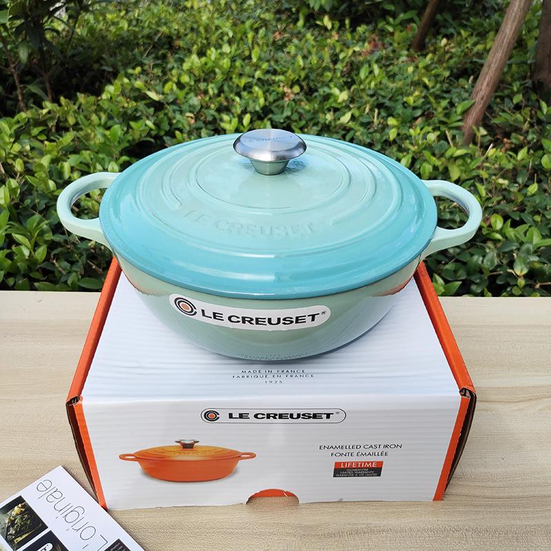 Size:26cm * 10cm weight: 6kg capacity: 4.1L Le Creuset health pot French Cool White Enamel Cast Iron Pot round Pot Flat Bottom Household Stew Pot Singapore