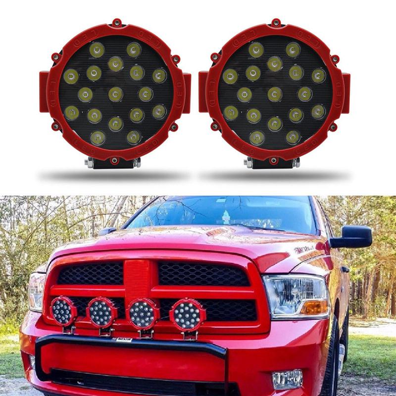 Heuv 51W 7  Đèn LED Chiếu Sáng Trên Tàu Tại Chỗ Vòng Đỏ Offroad Sương Mù Lái Xe 4WD Thuyền UTE ATV SUV
