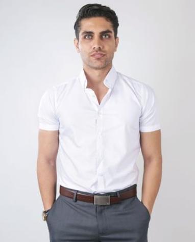 09925b89913 IDENTITY Mens Plain White Casual Formal Corporate Wear Short Sleeve Shirt