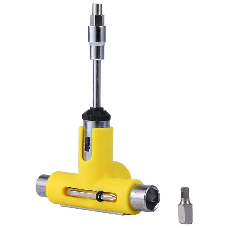 Giá bán Skateboard Wrench Skateboard Repair Kit Semi-Automatic Tool Skate Board T-Shape Multifunctional Roller Skate Heavy Duty Wrench Yellow