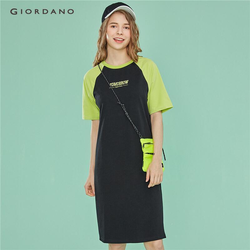 0cb357fbe61d Giordano Women Dresses Women's Dress Midi Dress Straight Contrast Color  Print Short Sleeve Side Vents Free