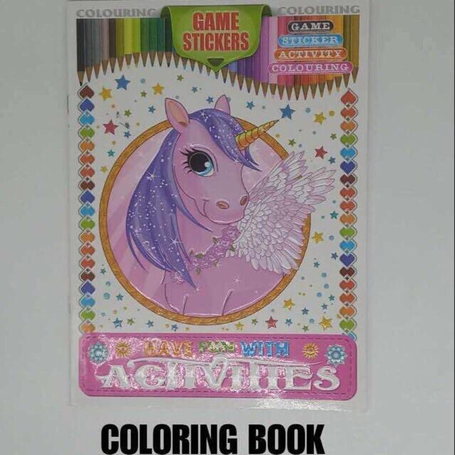 Unicorn Coloring Book Activity Book With Game Stickers By Jingzuan