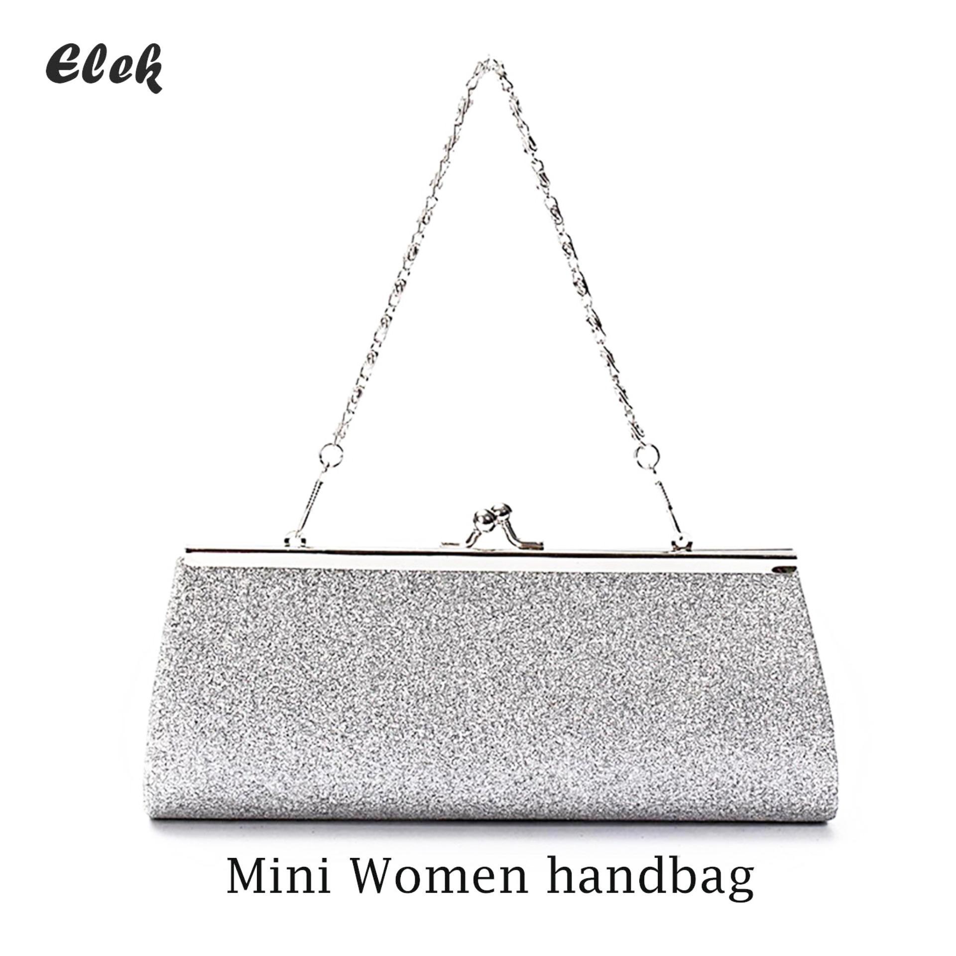 85bdf1f39a4 Elek Ladies Girls Sparkly Glitter Clutch Handbag Wallet Wedding Bridal Prom Party  Evening Purse Sliver(