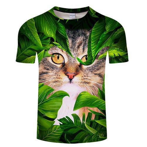 f515eb07e12 Cat   leaf Print 3D T shirt Men Women tshirt Summer Funny Short Sleeve O-