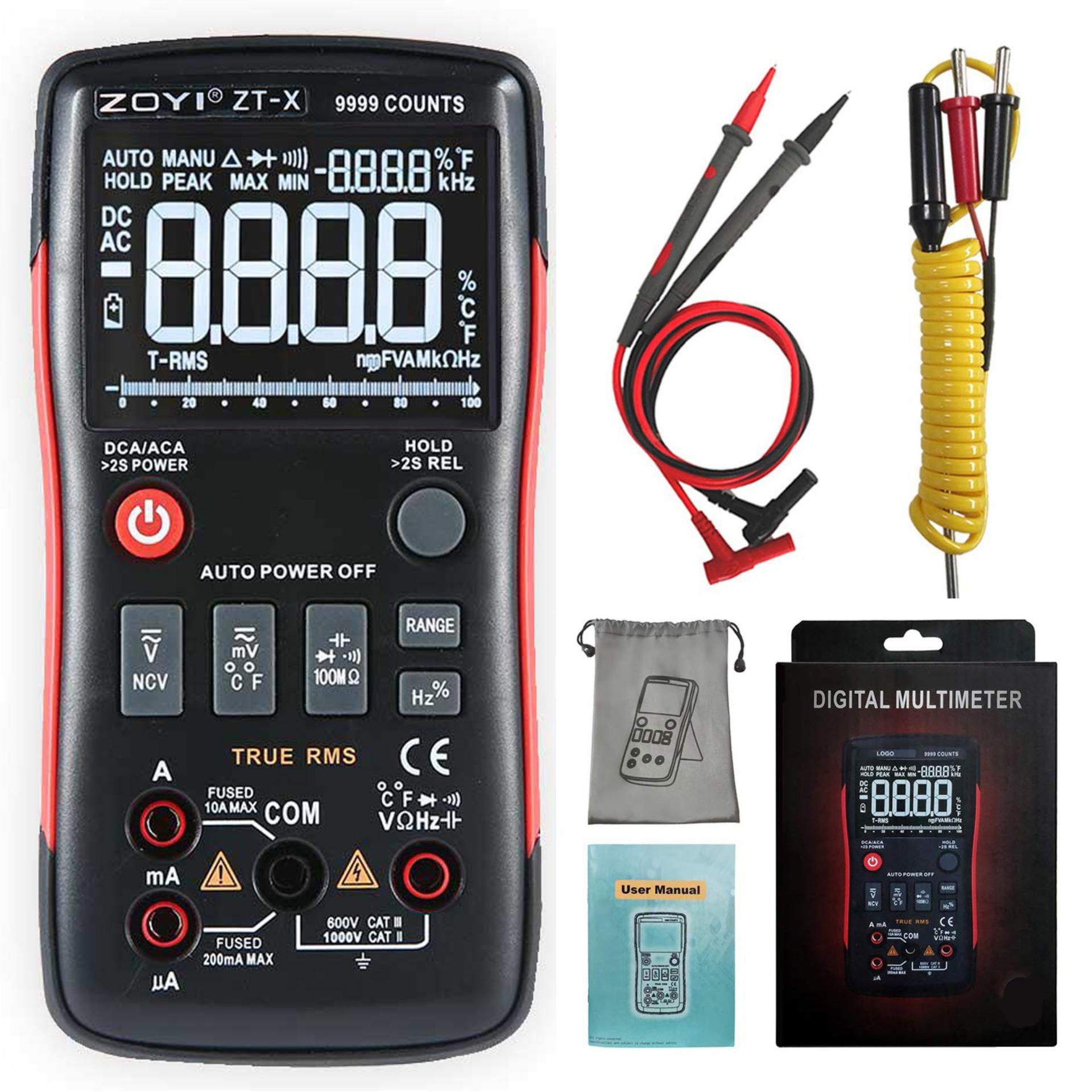 Top-Sky 【zoyi】zt-X True-Rms Digital Multimeter 3-Line Dispaly 9999 Counts Button Design Auto-Ranging Dmm Temperature Capacitance Ac/dc Voltage Current Multi Meter Tester With Analog Bargraph By Topsky.