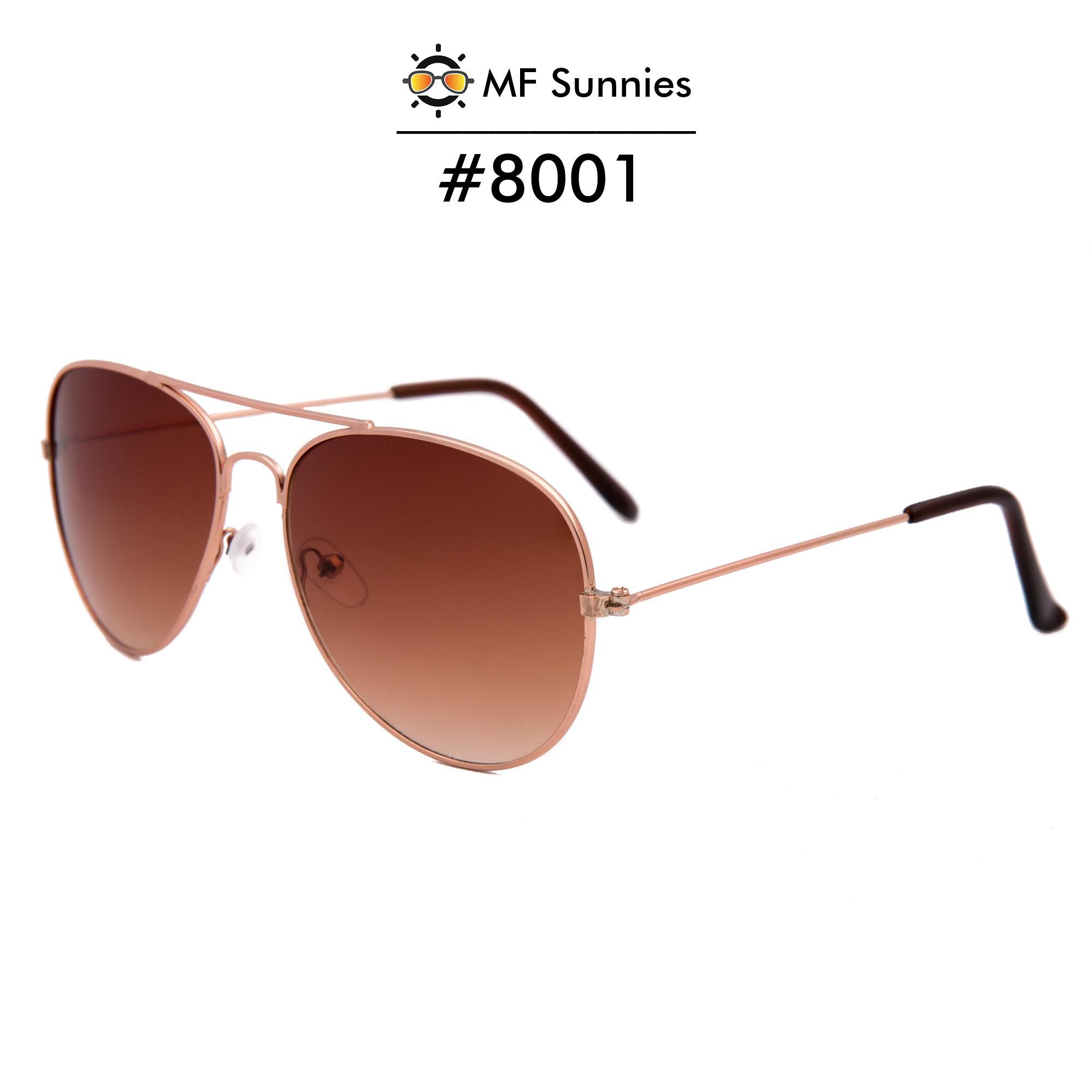 b7eea2fe9f0c MFSunnies Classic Classic Aviator Sunglass Metal Frame Fashion Eyewear Brown   8001