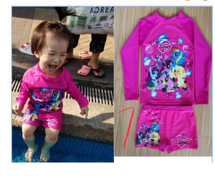 6b874307e Little Pony Baby&Kid's Swimsuit Swim RashGuard And Shorts For Girls