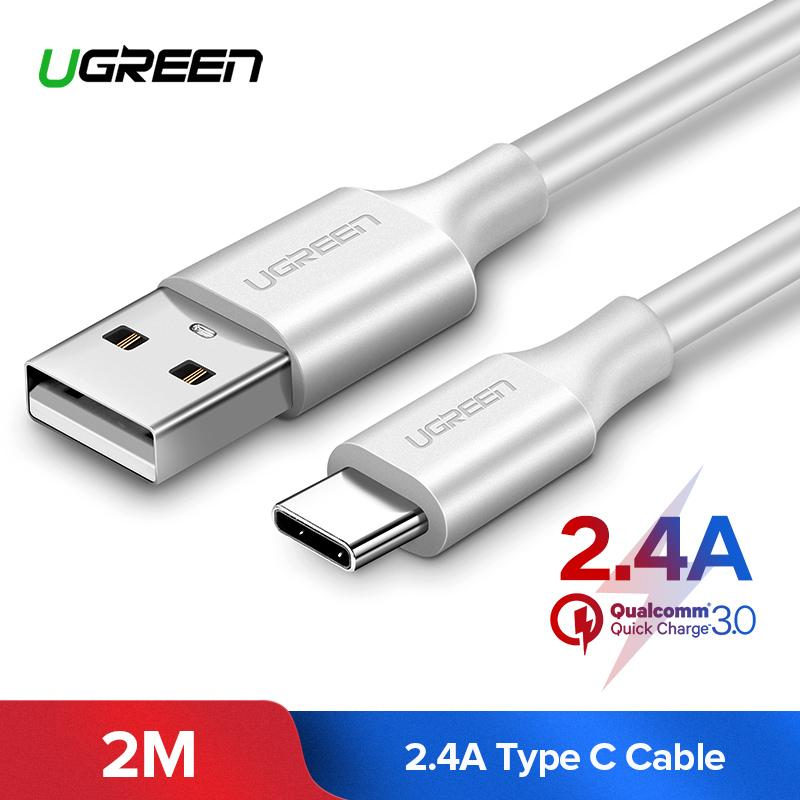 UGREEN 2Meter USB Type C Cable for Oneplus 5 UBS C Fast Sync Data Cable for Samsung Note 8/S8 Nexus 6P 5X Nintendo Switch Type-C Cable(White)-Intl
