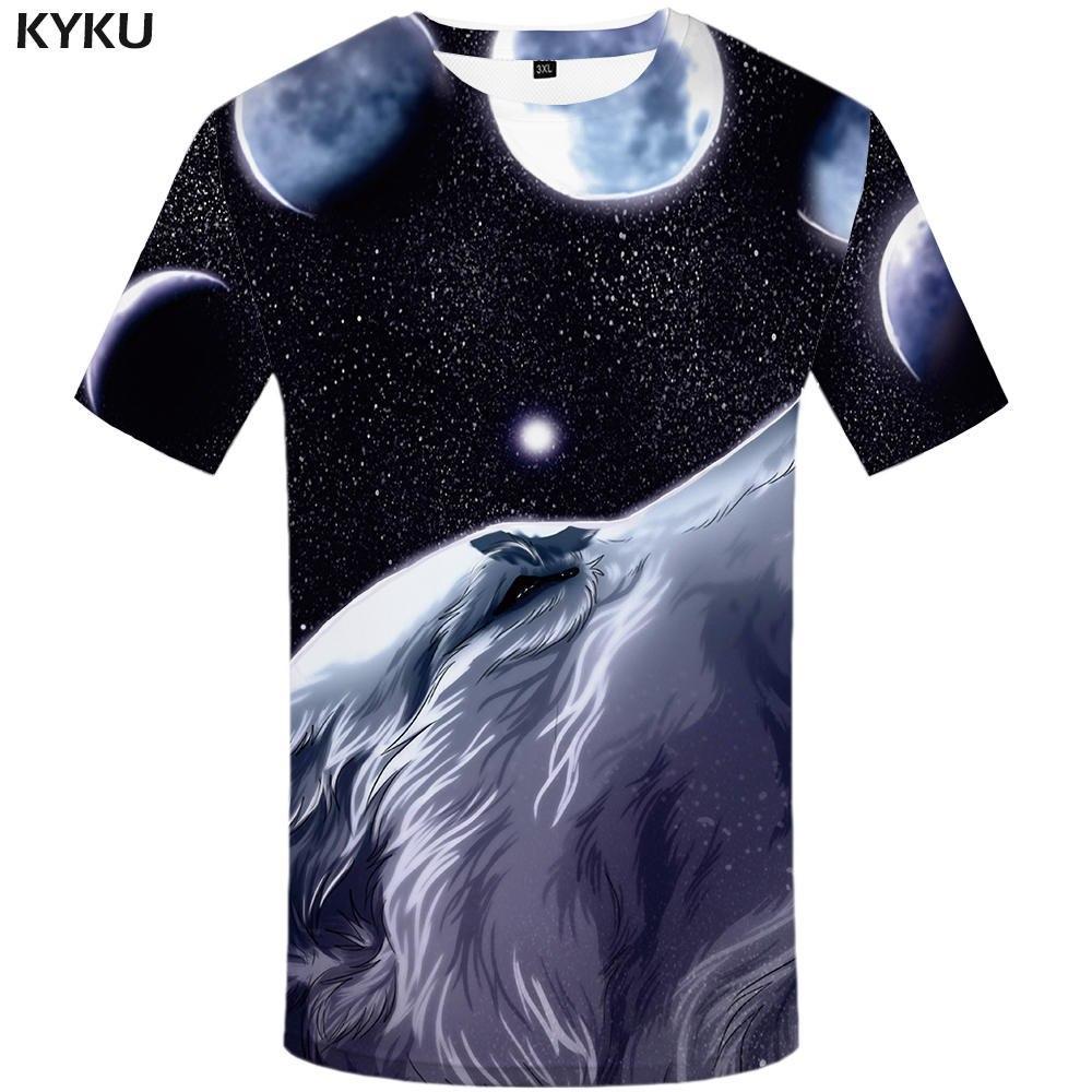 df4c80406 Brand Wolf T shirt Moon Tees Waterfall Clothing Starry Sky Tshirt Clothes  shirts Men 3d