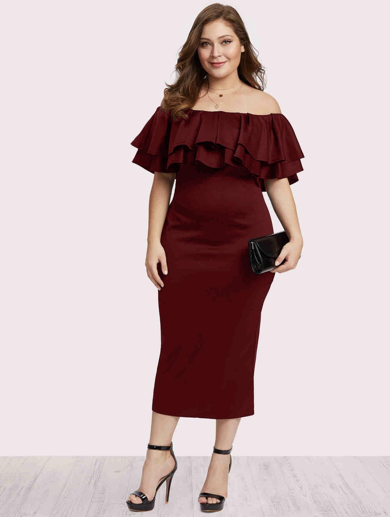 A1969 Off the Shoulder 2-layer Plus Size Dress L XL (XXL)