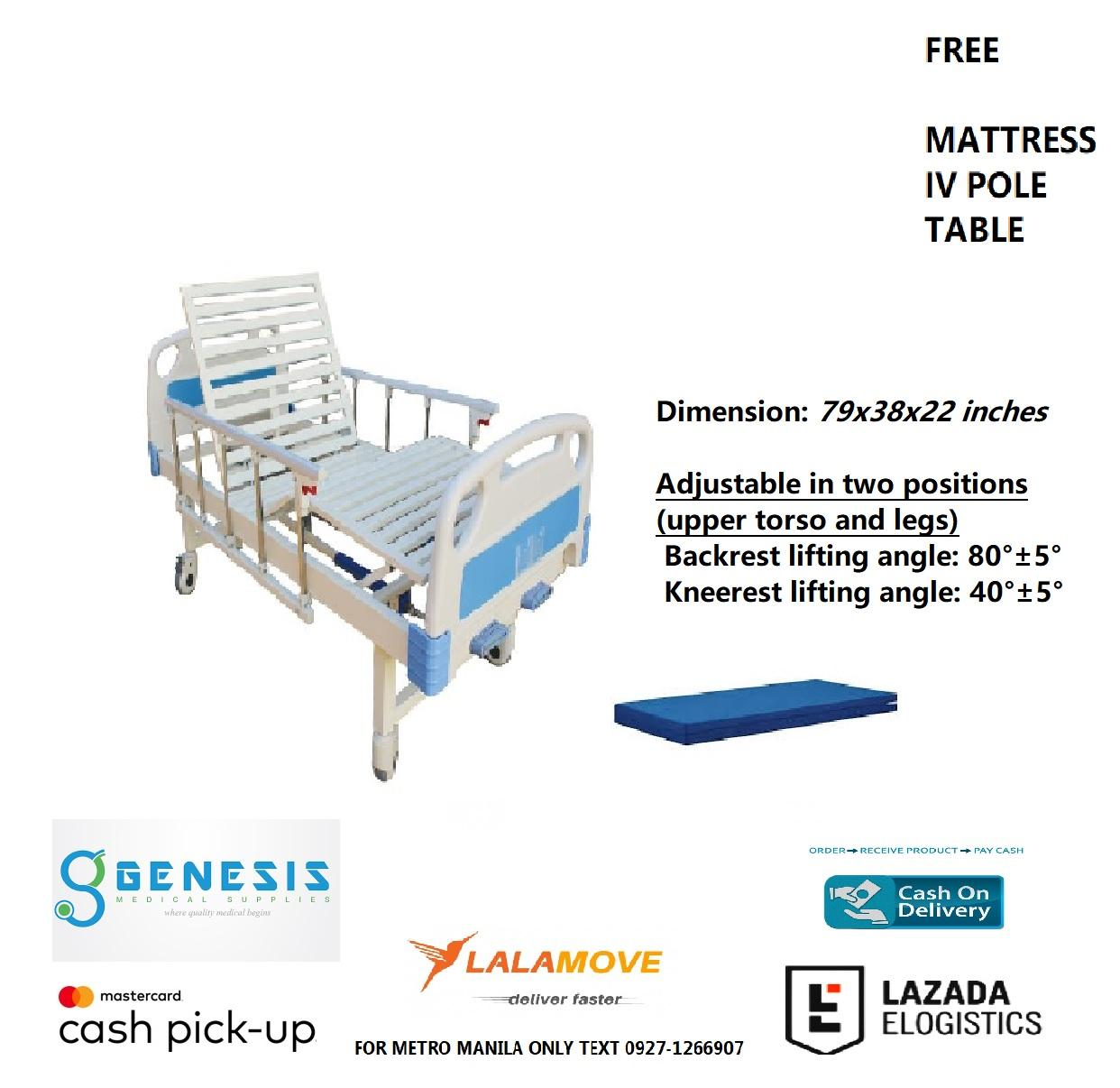 TWO CRANKS HOSPITAL BED WITH 4 INCH LEATHERETTE FOAM, TABLE AND IV POLE