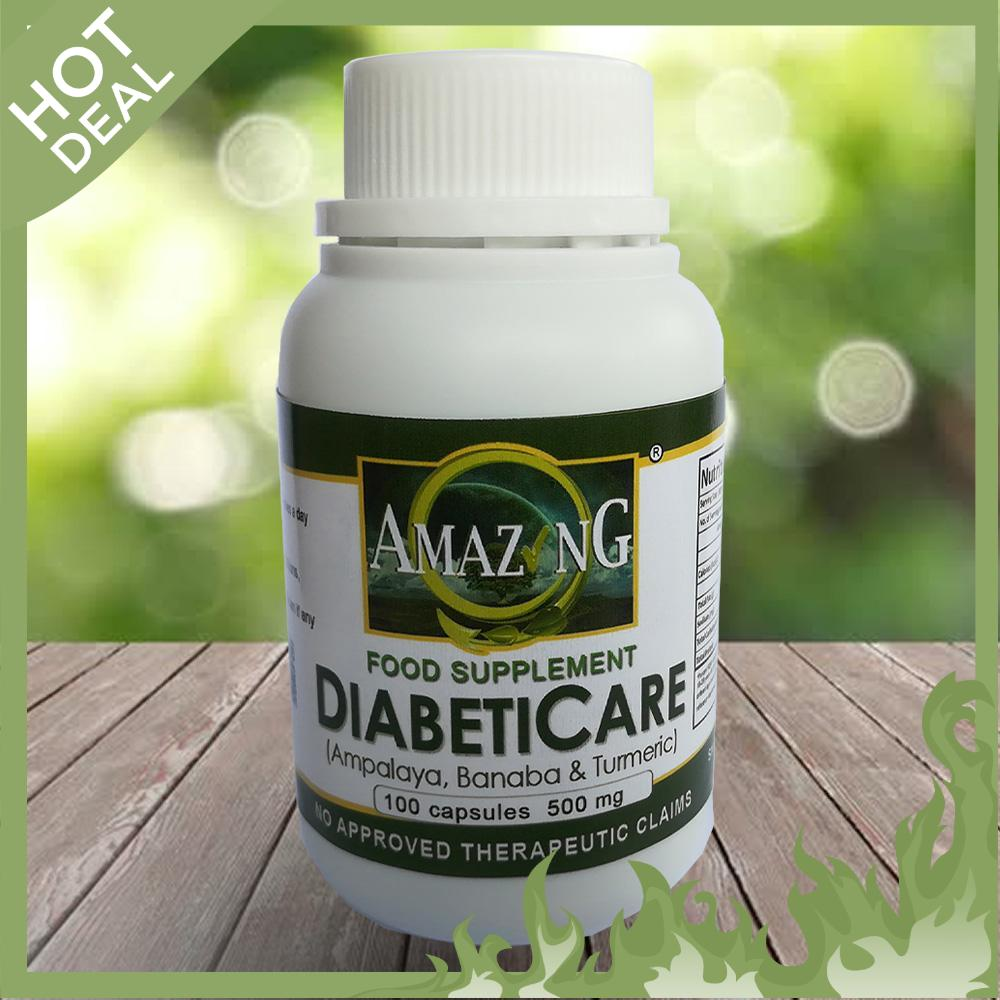 Amazing Food Supplement DiabetiCare 500mg 100% Pure Leaf Powder 500mg  Capsule Bottle of 100