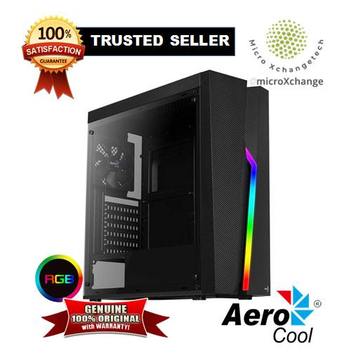 Aerocool Bolt Mid-Tower RGB PC Gaming Case, ATX, Full Acrylic Side Panel,  RGB LED Strip Included, 13 Lighting Modes, 1 x 120mm Black Fan Included,