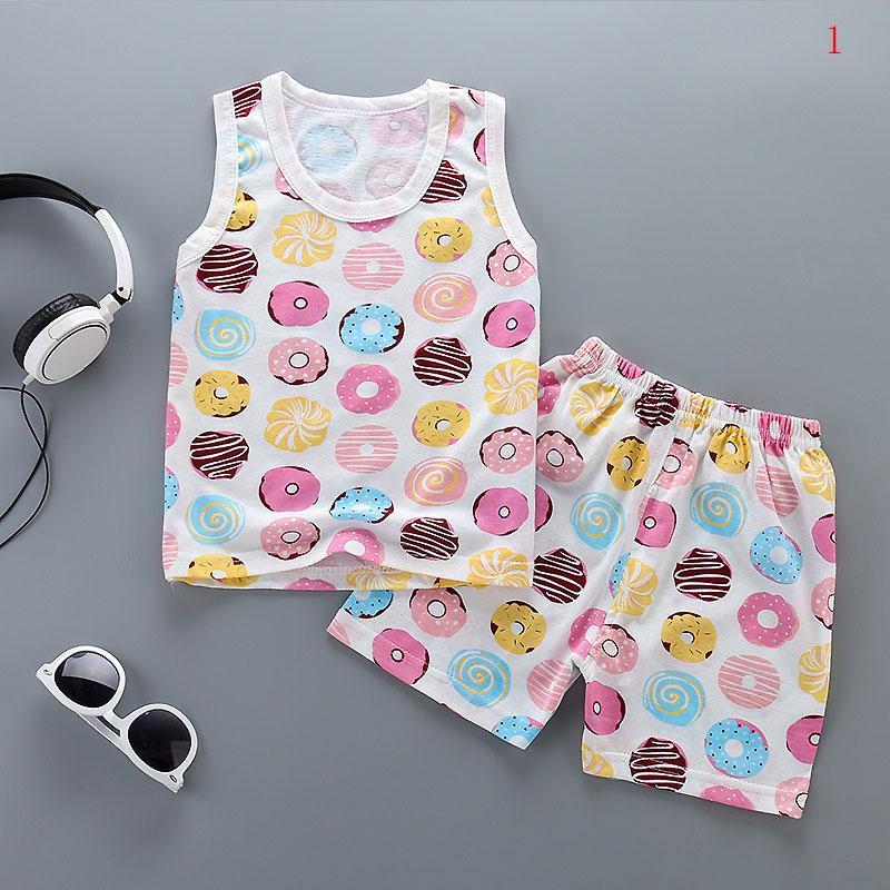 Giá bán HuaX 2Pcs/Set Children Girl Boys Cute Cartoon printeded Pattern Suit Vest + Shorts Kids clothing