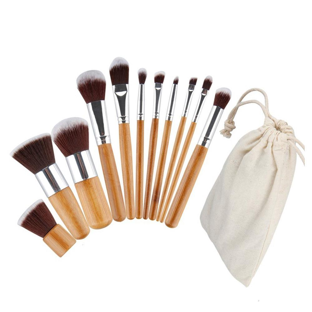 11pcs Bamboo Make Up Brush with Pouch Philippines