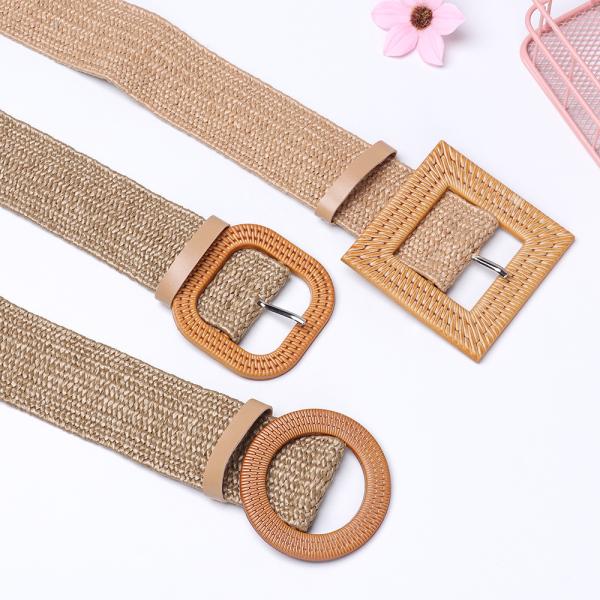 Giá bán Casual Dress Belt Shirt Wide Wooden Buckle PP Straw Elastic Waist Chain Straw Belt Belly Necklace Body Jewelry