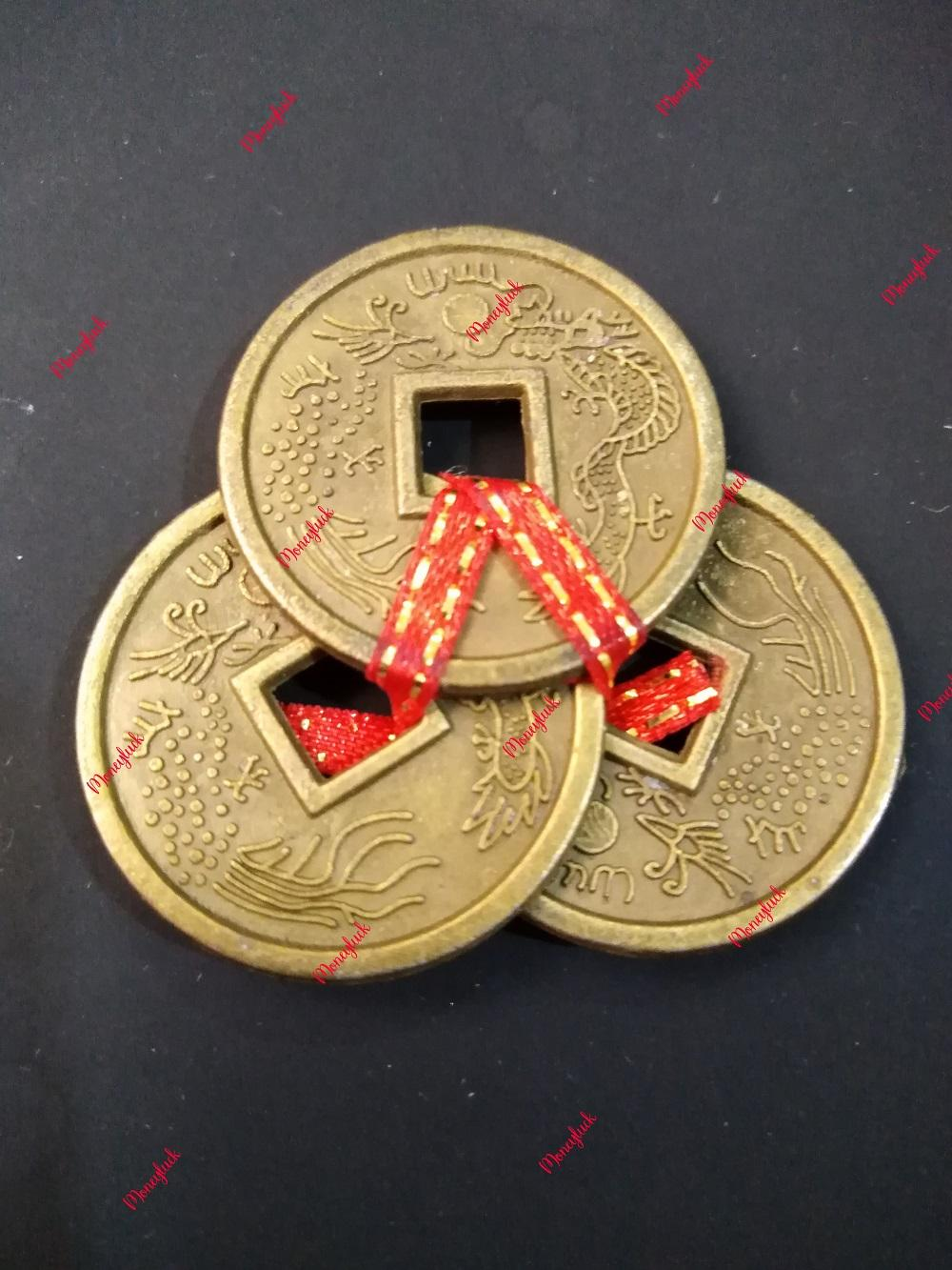 3 Chinese Lucky Coins tied in Red String