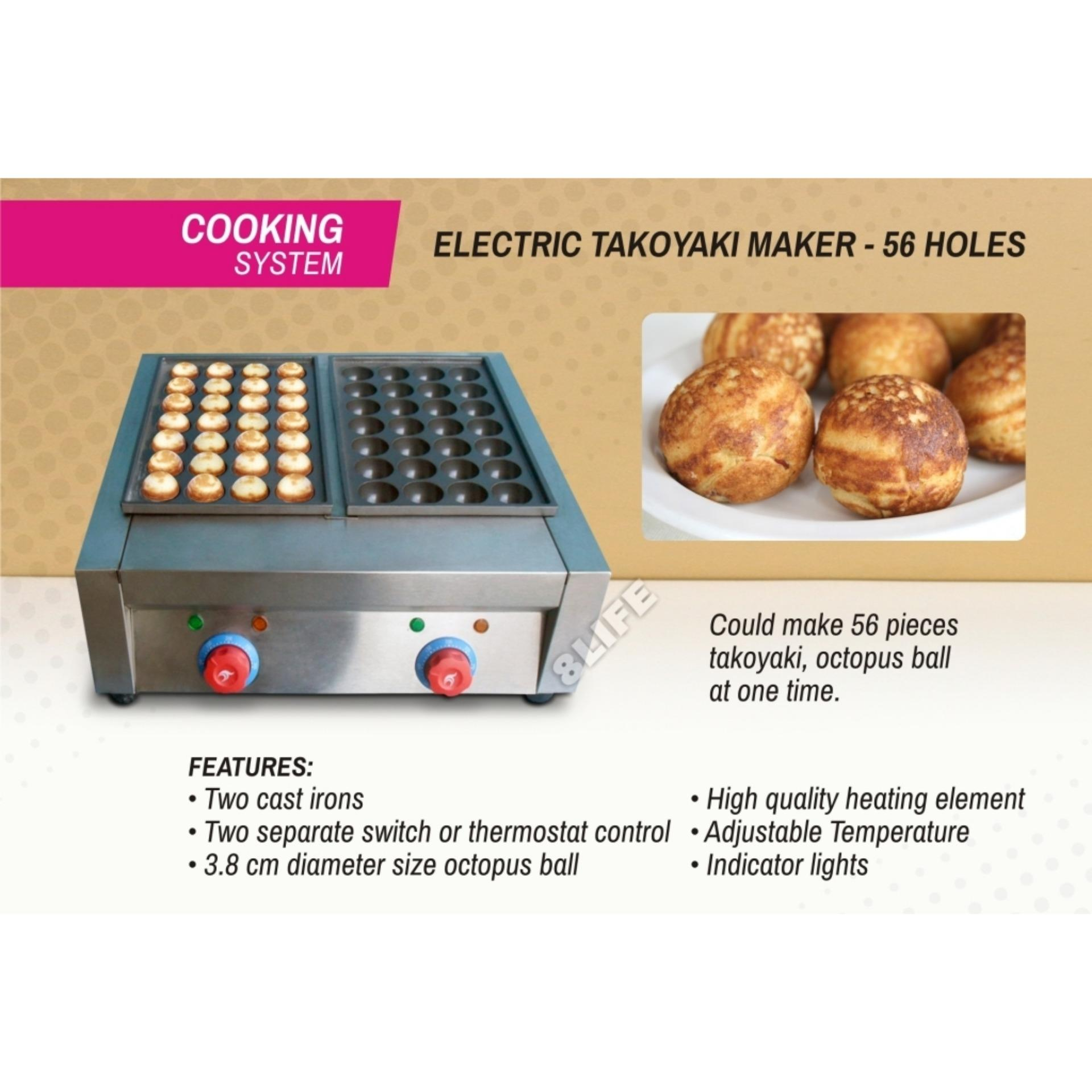 Electric Takoyaki Maker Double Plate 56 Holes Fy-56 By 8life.