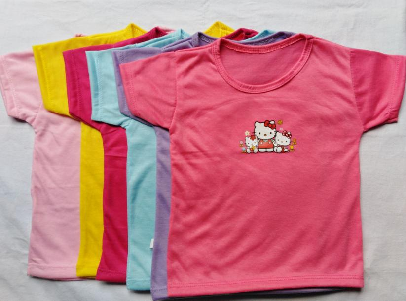 6 PCS KITTY BLOUSES FOR KIDS - 6 GIRL TOPS BUNDLE (fit from 6months to