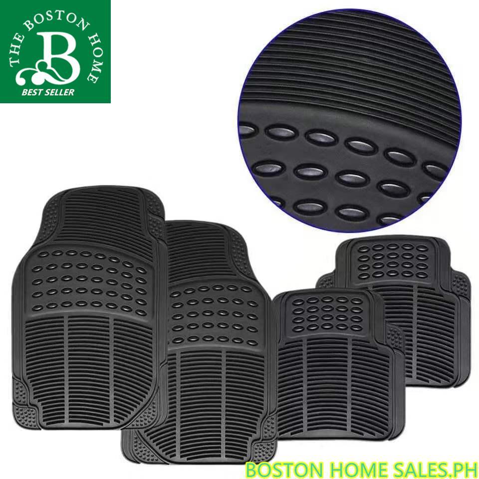 Boston Home Rubberized Premium universal floor guard car mats 4pcs set  (Black)