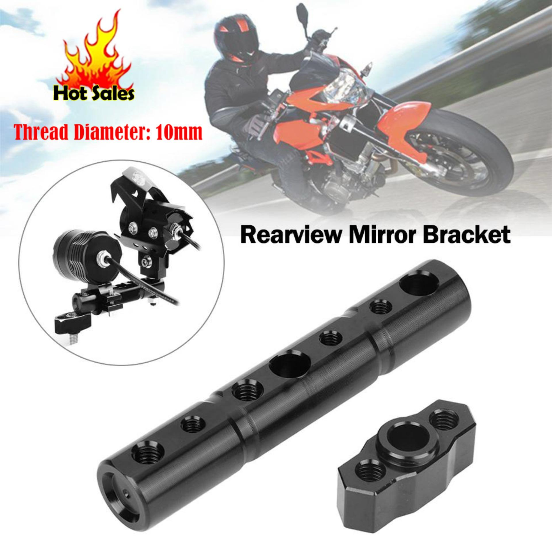 【buy 2 Save ₱50】10mm Motorcycle Rearview Mirror Extended Mount Bracket Bar Spotlight Cell Phone Holder Black By Qilu.