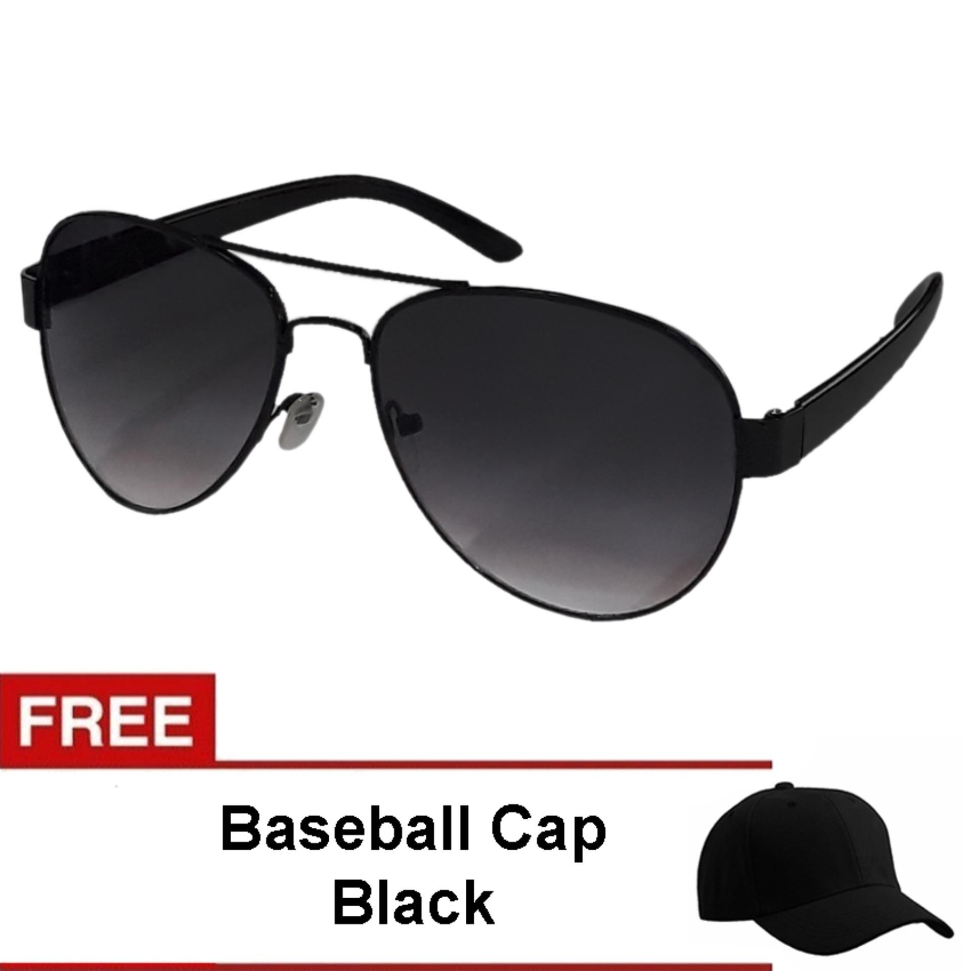 ce04e374c2 Mens Pilot Aviator Sunglasses UV 400 Protection Shades Free Baseball Cap  Black