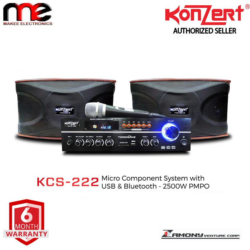 Konzert Kcs-222 Micro Component System With Usb & Sd, Fm Radio, Bluetooth And Microphone By Makee Electronics.